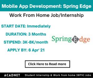 Mobile App Development: Work From Home Job/Internship: Spring
