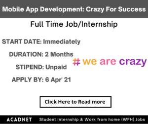 Flutter Mobile App Development: Internship: Multiple locations: Crazy For Success Foundation: 6 Apr' 21