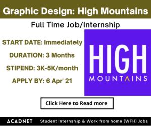 Graphic Design: Internship: Multiple locations: High Mountains: 6 Apr' 21