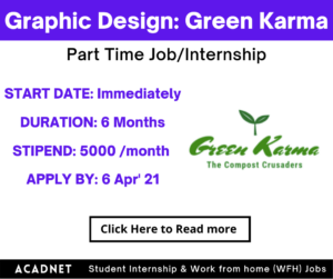 Graphic Design: Part Time Job/Internship: Chandigarh: Green Karma: 6 Apr' 21