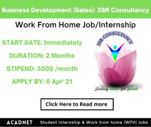 Business Development (Sales): Work From Home Job/Internship: 3SR Consultancy: 6 Apr' 21