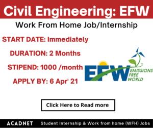 Civil Engineering: Work From Home Job/Internship: Emissions Free World: 6 Apr' 21