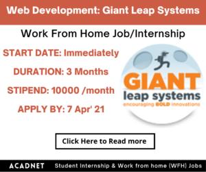 Web Development: Work From Home Job/Internship: Giant Leap Systems: 7 Apr' 21