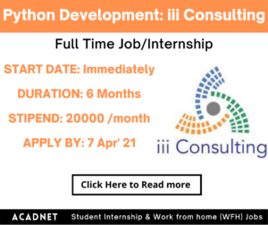 Python Development: Internship: Hyderabad: iii Consulting Private Limited: 7 Apr' 21