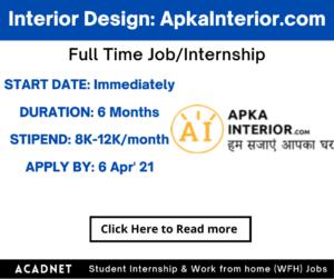 Interior Design: Internship: Jaipur: ApkaInterior.com: 6 Apr' 21