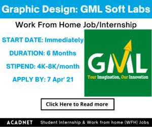 Graphic Design: Work From Home Job/Internship: GML Soft Labs: 7 Apr' 21