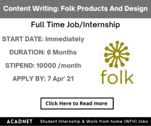Content Writing: Internship: Kolkata: Folk Products And Design Private Limited: 7 Apr' 21