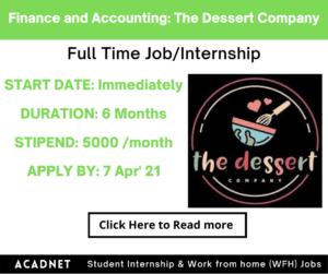 Finance and Accounting: Internship: Gurgaon: The Dessert Company: 7 Apr' 21