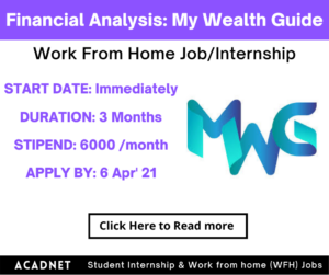 Financial Analysis: Work From Home Job/Internship: My Wealth Guide: 6 Apr' 21
