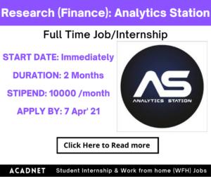 Research (Finance): Internship: Panjim: Analytics Station: 7 Apr' 21