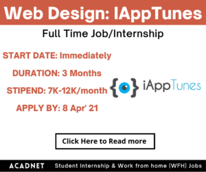 Web Design: Internship: Multiple locations: IAppTunes: 8 Apr' 21