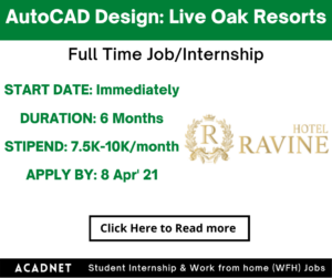 AutoCAD Design: Internship: Multiple locations: Live Oak Resorts Private Limited: 8 Apr' 21