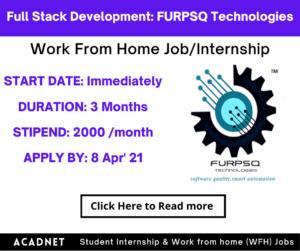 Full Stack Development (AR/MR & IoT): Work From Home Job/Internship: FURPSQ Technologies Private Limited: 8 Apr' 21