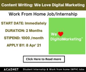Content Writing: Work From Home Job/Internship: We Love Digital Marketing: 8 Apr' 21