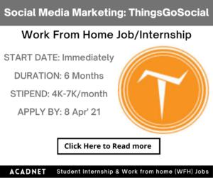 Social Media Marketing: Work From Home Job/Internship: ThingsGoSocial: 8 Apr' 21