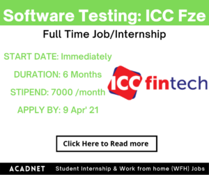 Software Testing: Internship: Noida: Innovative Consumer Concepts Fze: 9 Apr' 21
