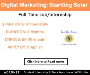 Digital Marketing: Internship: Mumbai: Startling Solar Private Limited: 9 Apr' 21