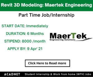 Revit 3D Modeling: Part Time Job/Internship: Multiple locations: Maertek Engineering Solutions: 9 Apr' 21