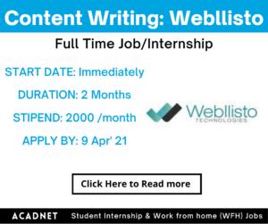 Content Writing: Internship: Indore: Webllisto: 9 Apr' 21