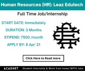 Human Resources (HR): Internship: Delhi: Leaz Edutech Institute: 8 Apr' 21