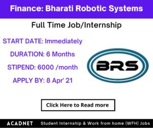 Finance: Internship: Pune: Bharati Robotic Systems: 8 Apr' 21