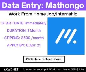 Data Entry: Work From Home Job/Internship: Mathongo: 8 Apr' 21