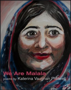 Cover of We Are Malala, featuring a painting of Malala's face with muted colours.