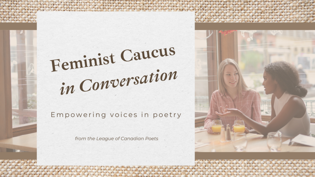 Feminist caucus in Conversation: Empowering voices in poetry. Featruing stock image of two women in conversation at a cafe