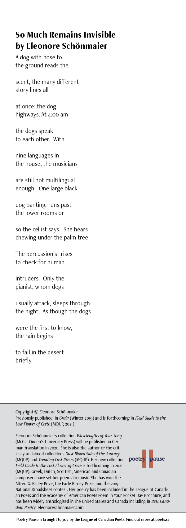 POEM NAME: So Much Remains Invisible AUTHOR NAME: Eleonore Schonmaier POEM: A dog with nose to the ground reads the scent, the many different story lines all at once: the dog highways. At 4:00 am the dogs speak to each other. With nine languages in the house, the musicians are still not multilingual enough. One large black dog panting, runs past the lower rooms or so the cellist says. She hears chewing under the palm tree. The percussionist rises to check for human intruders. Only the pianist, whom dogs usually attack, sleeps through the night. As though the dogs were the first to know, the rain begins to fall in the desert briefly. END OF POEM. CREDITS: Copyright © Eleonore Schönmaier Previously published in Grain (Winter 2019) and is forthcoming in Field Guide to the Lost Flower of Crete (MQUP, 2021) Eleonore Schönmaier's collection Wavelengths of Your Song (McGill-Queen's University Press) will be published in German translation in 2020. She is also the author of the critically acclaimed collections Dust Blown Side of the Journey (MQUP) and Treading Fast Rivers (MQUP). Her new collection Field Guide to the Lost Flower of Crete is forthcoming in 2021 (MQUP). Greek, Dutch, Scottish, American and Canadian composers have set her poems to music. She has won the Alfred G. Bailey Prize, the Earle Birney Prize, and the 2019 National Broadsheet contest. Her poetry has been included in the League of Canadian Poets and the Academy of American Poets Poem in Your Pocket Day Brochure, and has been widely anthologised in the United States and Canada including in Best Canadian Poetry. eleonoreschonmaier.com