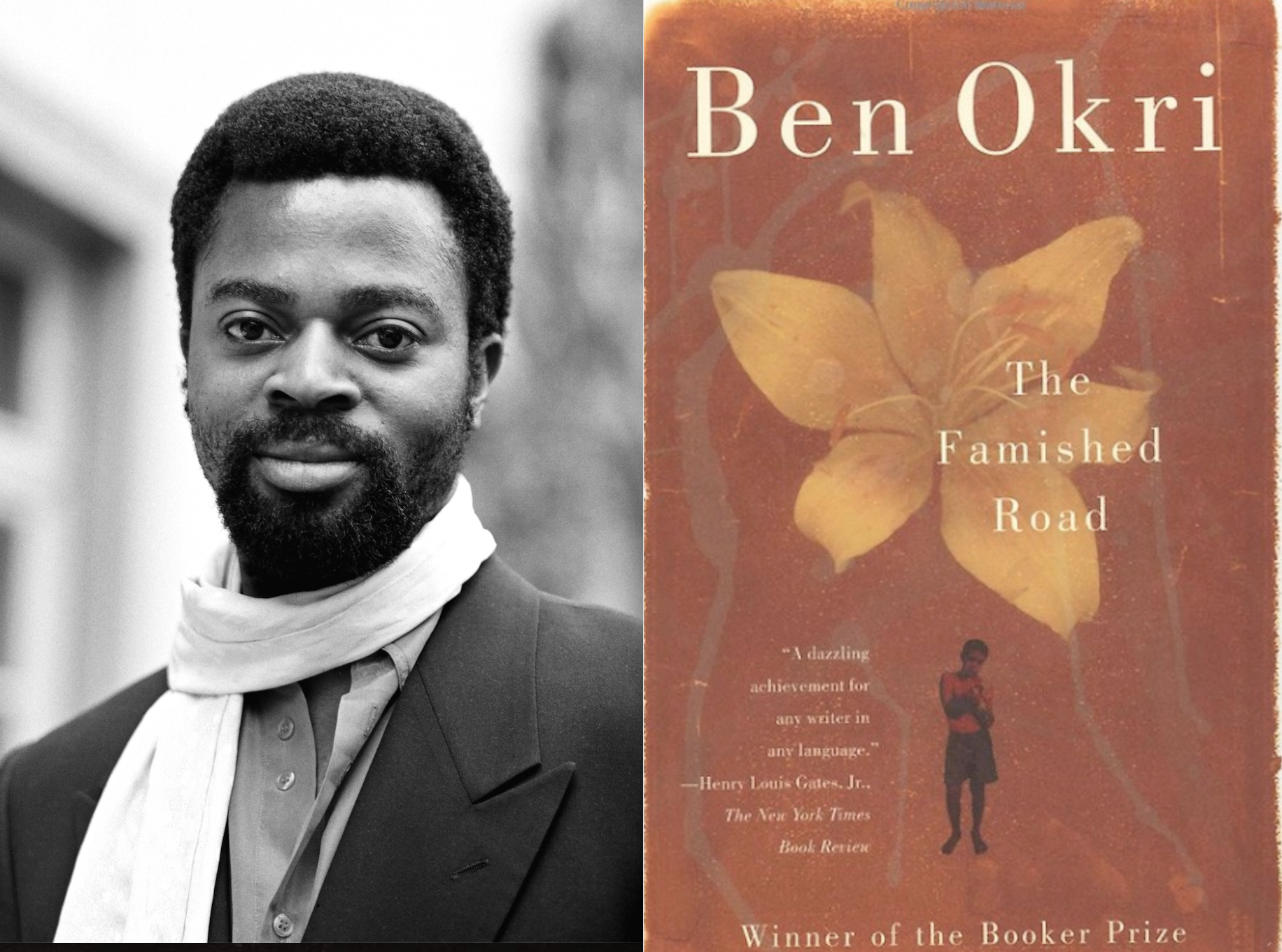 photo of Ben Okri and Cover on the novel The Famished Road