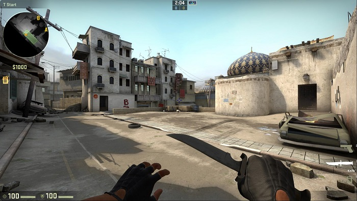 A Look at the Map de_dust2 in CSGO Terrorist Spawn