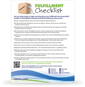 CFS Fulfillment Checklist