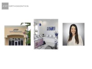 Diapositiva para la ortodoncia ART que se muestra fuera de la oficina y la recepción y el Dr. Khatami