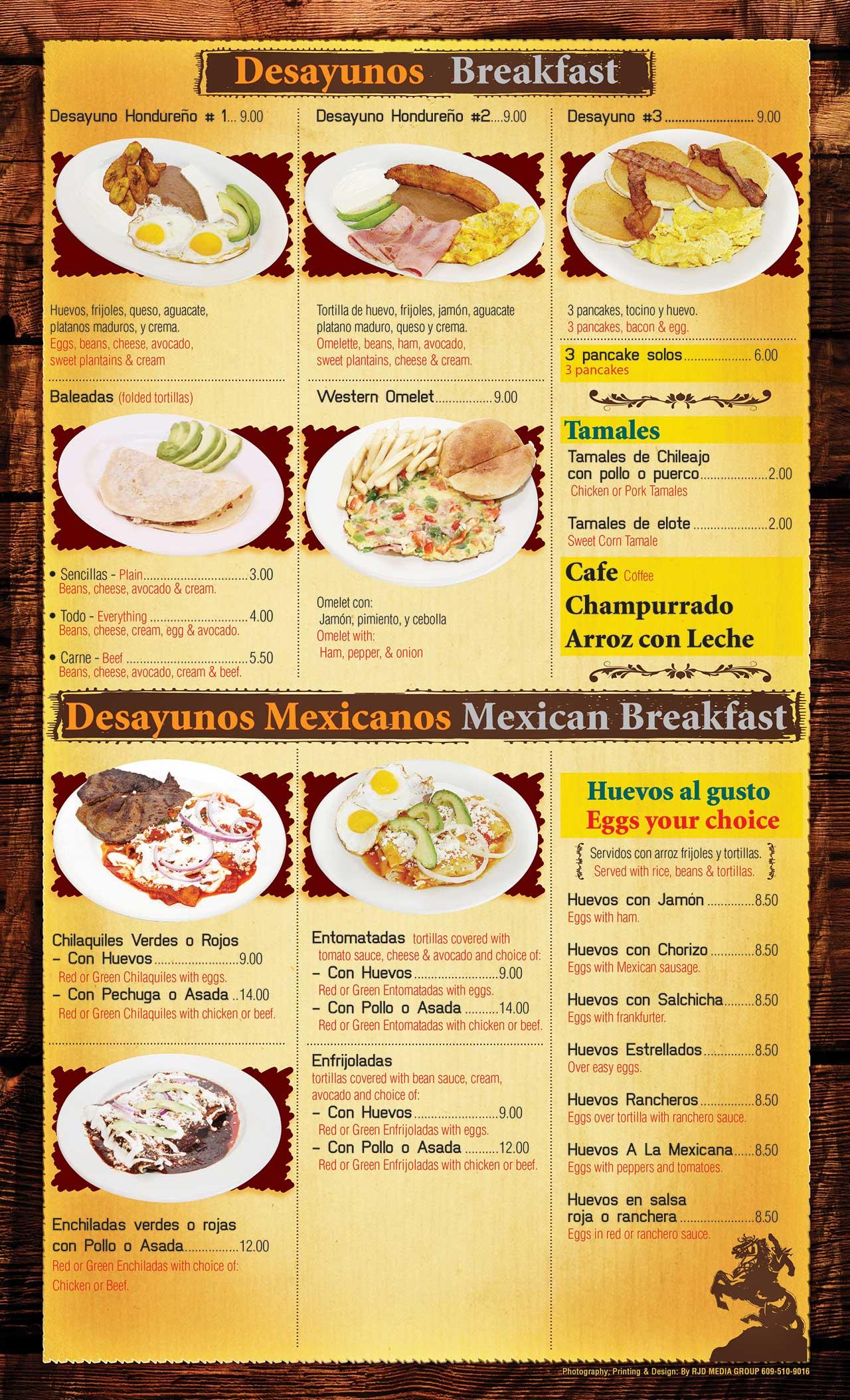 El Ranchito Menu Page 2