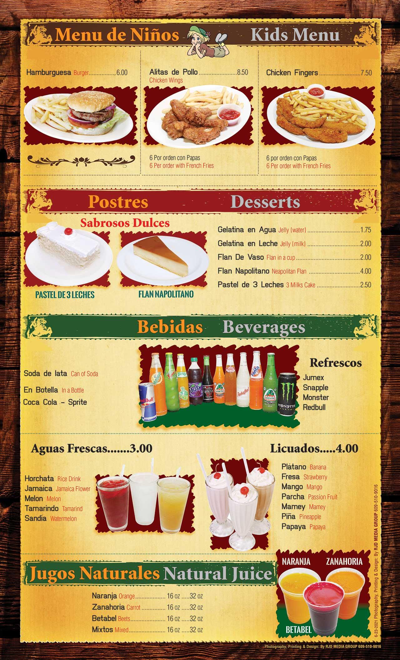 El Ranchito Menu Page 8