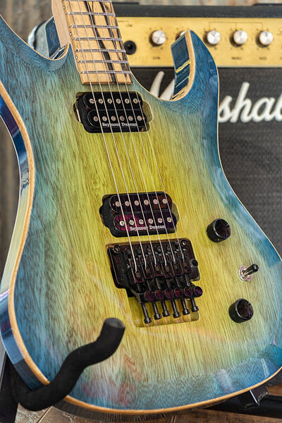 Blueburst paint detail photo of custom-built guitar by State College photographer Rusty Glessner