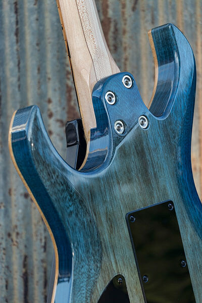 Bolt-on neck photo of custom-built guitar by State College photographer Rusty Glessner