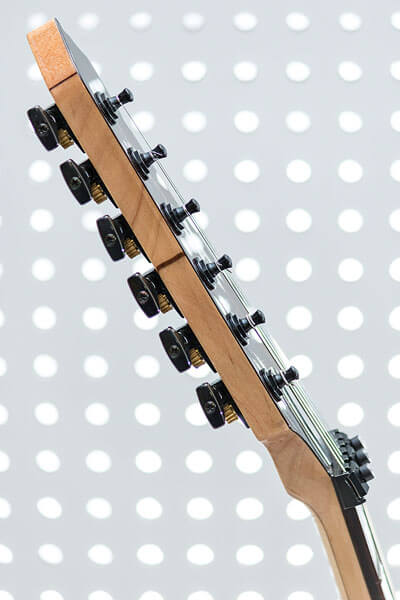 Headstock detail photo of custom-built guitar by State College photographer Rusty Glessner
