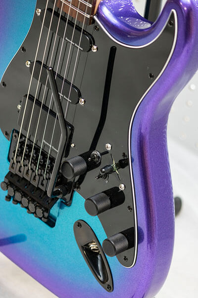 Pickguard close-up photo on custom-built guitar by State College photographer Rusty Glessner