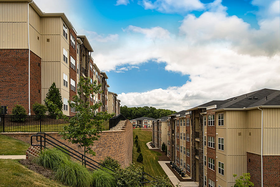 An exterior promo photo of a Penn State student apartment complex by State College real estate photographer Rusty Glessner