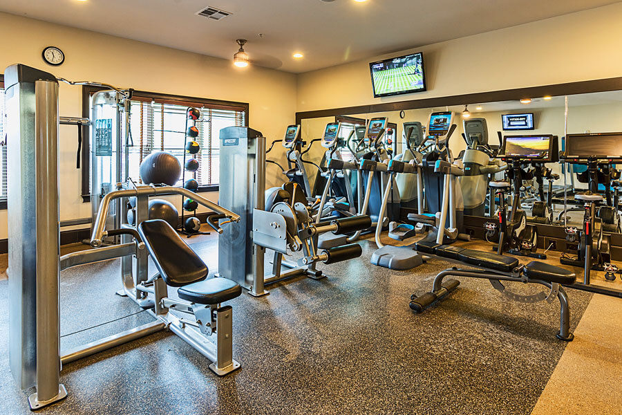 A gym promo photo for a Penn State student apartment complex by State College real estate photographer Rusty Glessner
