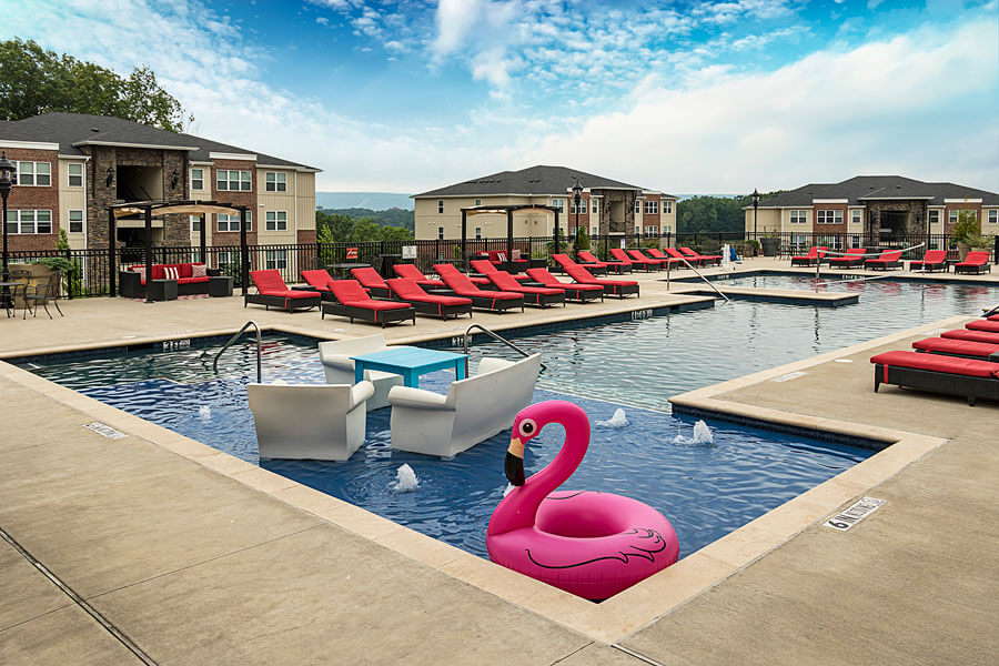 Swimming pool promo photo of a Penn State student apartment complex by State College real estate photographer Rusty Glessner