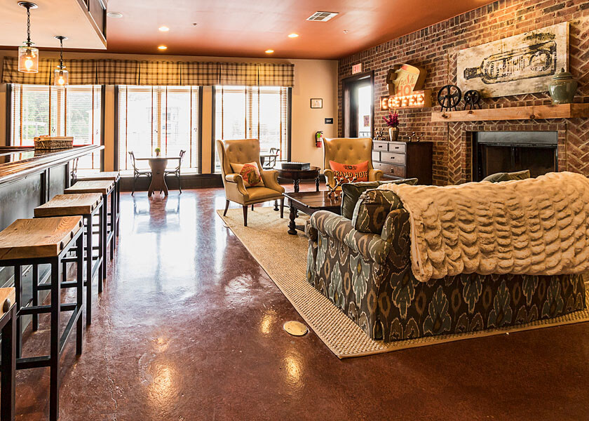An coffee lounge promo photo of a Penn State student apartment complex by State College real estate photographer Rusty Glessner