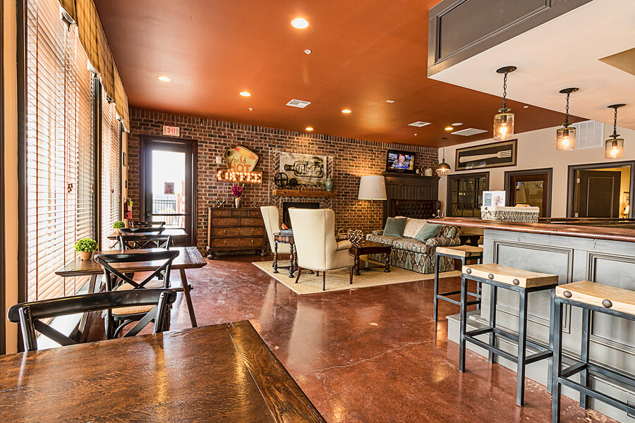 An coffee bar promo photo of a Penn State student apartment complex by State College real estate photographer Rusty Glessner