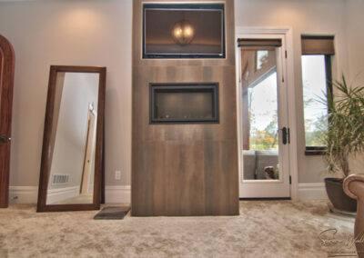 residential custom carpet and fireplace tile