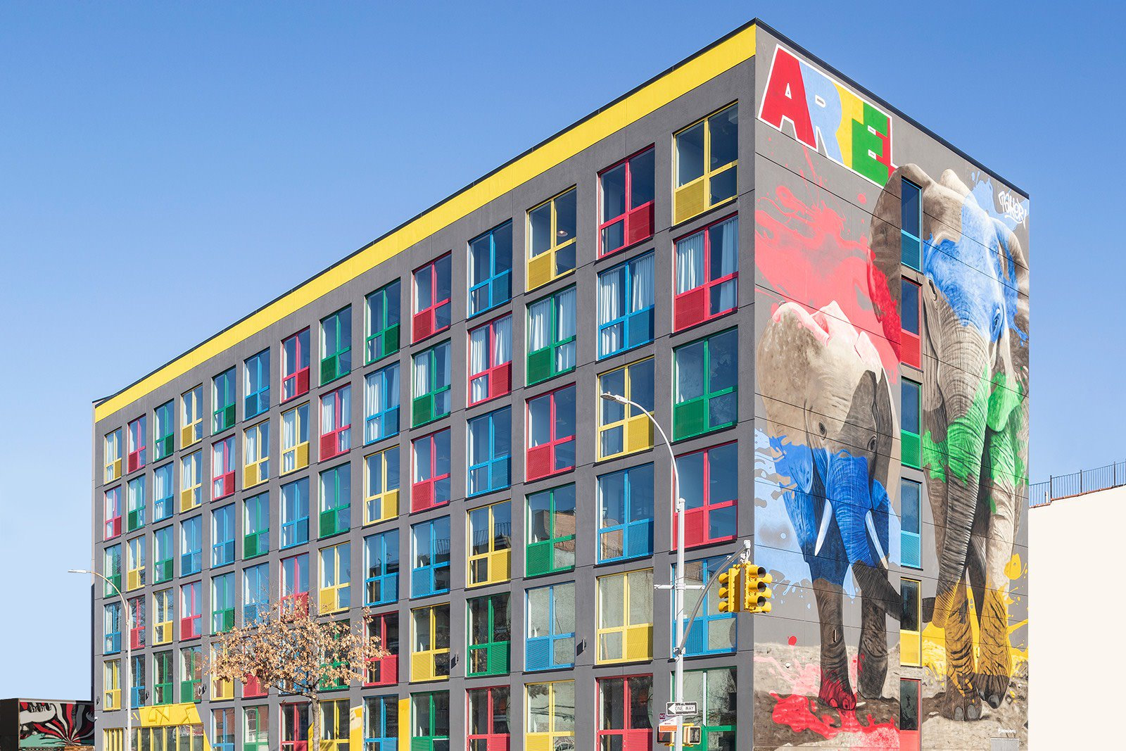 Exterior of Artel Hotel With Elephants Mural