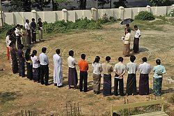 Labyrinth dedication in Yangon, Myanmar