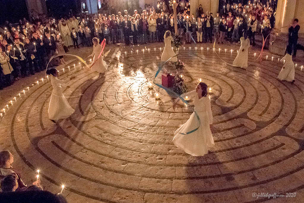 Easter dance on the labyrinth by Jill K H Geoffrion, photographer