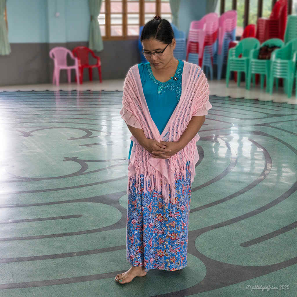 Walking the labyrinth in Myanmar by Jill K H Geoffrion, photographer