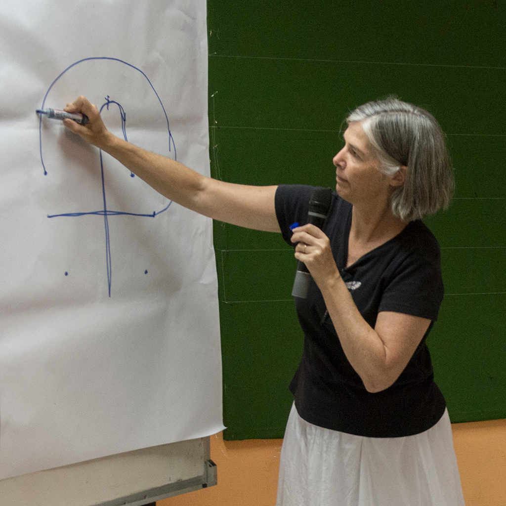 Dr. Geoffrion teaches on labyrinth construction